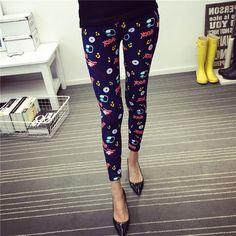 New Spring Summer Womens Fashion Black Milk Thin Stretch leggings Colored Stars Graffiti Slim Skinny Leggings Pants Female