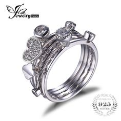 Promotion price JewelryPalace Heart Love Anniversary Engagement Wedding Band 4 Ring Sets Real 925 Sterling Silver Jewelry Gift for Mother's Day just only $20.89 with free shipping worldwide  #finejewelry Plese click on picture to see our special price for you