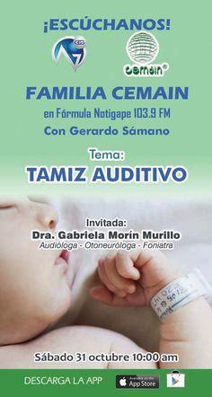 """Escúchanos este sábado 31 de octubre, hablaremos sobre """"Tamiz Auditivo"""" tendremos de invitada a la Dra. Gabriela Morín Murillo especialista en Audiología-Otoneurología-Foniatría"""