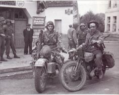 US and UK motorcycle riders France 1944