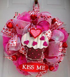 Valentines Deco Mesh - Kiss Me Cupcake - Valentine Door Decor - Outdoor Valentines Decor - Deco Mesh Wreath - Valentine. $65.00, via Etsy.