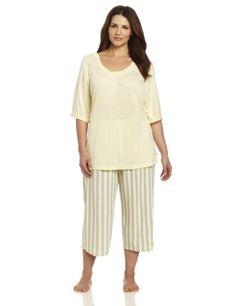 Karen Nueburger Women`s Plus-Size Blackout Short Sleeve Combo Pullover Crop Pajama $52.50