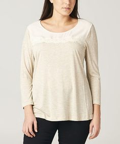 Look what I found on #zulily! Beige & White Lace Scoop Neck Top - Plus #zulilyfinds