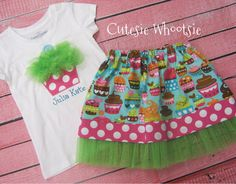 Cupcake Birthday Tulle Applique Shirt and Twirl Skirt by jdc0828, $42.00