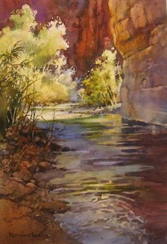 Cool Canyon , Watercolor painting of Fremont River in Capitol Reef National Park - Watercolor Paintings by Roland Lee