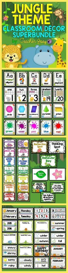 Jungle Theme Decor #teacherspayteachers #jungletheme