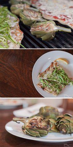 Grilled Artichokes & Asparagus Pizza