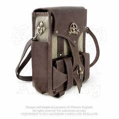 Garanels Brown Leather and Canvas Tablet Pouch LG68 Blackorchidcouture