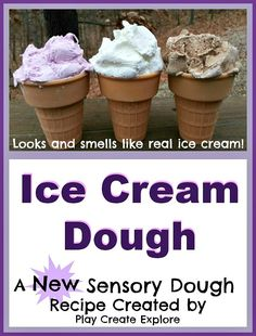 A totally NEW sensory dough created by Play Create Explore. A totally NEW sensory dough created by Play Create Explore. Looks and smells JUST like ice cream! Ice Cream Dough, Ice Cream Playdough, Ice Cream Theme, Ice Cream Party, Sensory Tubs, Sensory Play, Dough Recipe, Play Recipe, Pasta Recipes