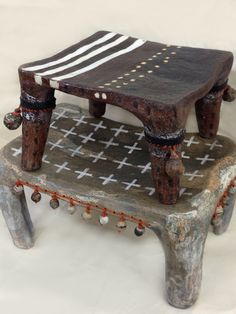 Stacked tribal stools~stoneware with stitched ceramic beads ~Brenda Holzke