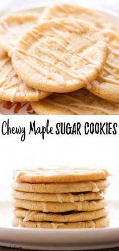 These Chewy Maple Sugar Cookies are rolled in cinnamon sugar and topped with a maple icing (maple glaze). These cinnamon maple sugar cookies are incredibly chewy, and they come together easily! Maple Cookies, Cinnamon Sugar Cookies, Toffee Cookies, Rolled Sugar Cookies, Chewy Sugar Cookie Recipe, Easy Cookie Recipes, Baking Recipes, Maple Sugar Candy Recipe, Maple Dessert Recipes