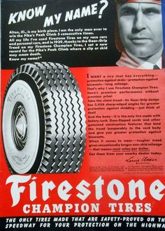 1940 Firestone ad with Louis Unser in the Pikes Peak Hill Climb race