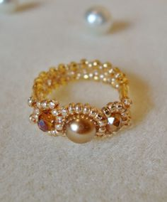 Three Bead ring, Brown Pearl ring, Brown briolette ring, handmade ring via Etsy
