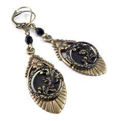 Antique Button Earrings - Art Deco - Black Oak