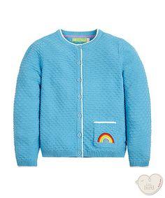 little bird by Jools blue rainbow pocket cardigan Little Bird By Jools, Little Ones, Cool Outfits, Rainbow, Pocket, Fun, Sweaters, Clothes, Fashion
