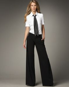 Alice + Olivia Riley Blouse with Tie & Erica Wide-Leg Pants Office Outfits, Casual Outfits, Fashion Outfits, Womens Fashion, Office Wear, Office Fashion, Work Fashion, Fashion Looks, Vetement Fashion