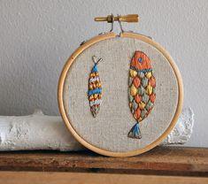 Fric de Mentol original wall art $30  #retro #embroidery #fish #walls #decor
