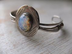 vintage sterling silver cuff bracelet foil glass opal cabochon made in mexico 1970s jewelry