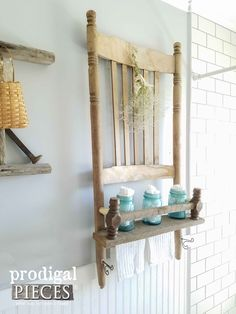 Diy Furniture Rustic Farmhouse Shelf Made from a Rocking Chair and Reclaimed Barn Wood by Prodigal Pieces Diy Wood Projects, Furniture Projects, Furniture Plans, Furniture Makeover, Furniture Decor, Furniture Stores, Furniture Design, Bedroom Furniture, Furniture Buyers