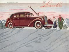 Cross-Country Skiing in the Forties Sports Art Print - 61 x 41 cm Ford Motor Company, Lincoln, Vintage Ski Posters, Popular Sports, Vintage Advertisements, Vintage Ads, Cross Country Skiing, Vintage Winter, Vintage Race Car