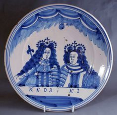 Delft charger Delft, William And Mary, White Dishes, Blue And White China, Chalkboard Art, Decorative Objects, 17th Century, White Porcelain, Folk Art
