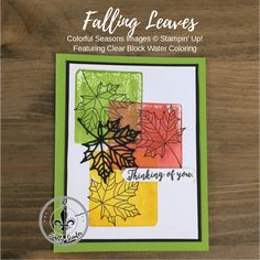 Falling Leaves – Stampin' Up! Colorful Seasons clear block stamping with colorful seasons and seasonal layers granny apple green, crushed curry, Cajun craze. Diy Photo Ornaments, Stampin Up Canada, Leaf Cards, Autumn Cards, Bone Folder, Falling Leaves, Thanksgiving Cards, Ink Pads, Sympathy Cards