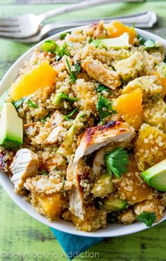 A hearty, healthy salad recipe with creamy avocado, nutty quinoa, chicken, fresh cilantro, and lots of bright citrus flavors. The perfect light dinner or easy lunch!