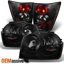 2005-2006 Jeep Grand Cherokee Black Smoked Headlights+Tail Lights Lamps Pair Set