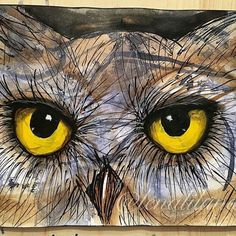 Amazing painting. .!!   Credit : @lenaliluna -  For amazing owl photos and videos follow @owl.gifts #owl #owls #owllove