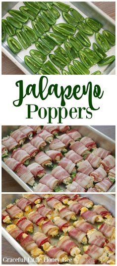 See how to make these DELICIOUS Cheesy Bacon Jalapeno Poppers on gracefullittlehon…! See how to make these DELICIOUS Cheesy Bacon Jalapeno Poppers on gracefullittlehon…! Bacon Jalapeno Poppers, Stuffed Jalapenos With Bacon, Stuffed Peppers, Bacon Dip, Super Bowl Essen, Good Food, Yummy Food, Healthy Food, Good Party Food