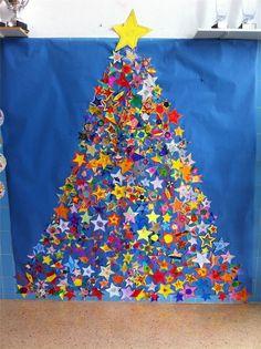Arbre d'estrelles de purpurina, amb una estrella de cada alumne del centre CEIP Can Cantó.