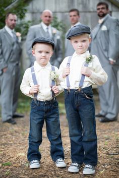 22 Cute And Stylish Ring Bearer Outfits: Ring bearer outfit for rustic weddings Jeans Wedding, Wedding Men, Wedding Suits, Mens Casual Wedding Attire, Farm Wedding, Kids In Wedding, Denim Wedding Dresses, Casual Groom Attire, Groom Outfit