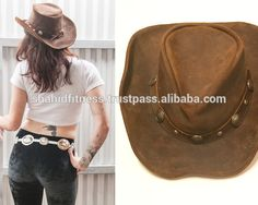 black style New Western Leather Hats, Cowboy Hats for Women and Man