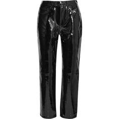 rag & bone Patent-leather straight-leg pants (€835) ❤ liked on Polyvore featuring pants, bottoms, rag & bone, jeans, trousers, black, button pants, straight leg pants, straight pants and cropped pants