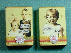 Altered Matchbox Gift Boxes Cute Kids by KittenCreates on Etsy, $5.00