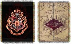 (Back in stock) - Harry Potter Marauders Map Hogwarts Crest Throw Blanket Set -  Perfect for any Harry Potter Fan. Use them as a room accent, bed covering, throw blanket or wall hanging. They are easy to care for, and are machine washable and dryable. These blankets are made of 100% acrylic, and are 48″x60″ in size.