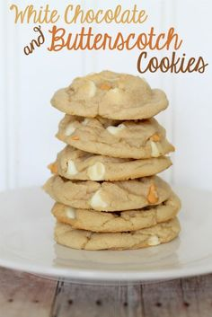 are, by far, my favorite cookies ever - white chocolate & butterscotch chip cookies. Recipe even has almond extract - Mmmm!These are, by far, my favorite cookies ever - white chocolate & butterscotch chip cookies. Recipe even has almond extract - Mmmm! Chip Cookie Recipe, Cookie Recipes, Dessert Recipes, Butterscotch Cookies, Chocolate Chip Cookies, Chocolate Chips, Chocolate Brownies, Just Desserts, Delicious Desserts