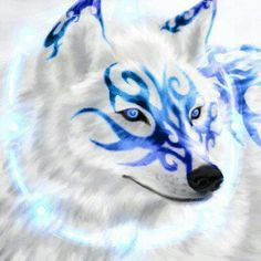 # WEREWOLVES Love the blue eyes and the tattoo design on this male wolf fantasy art pic.~JEN
