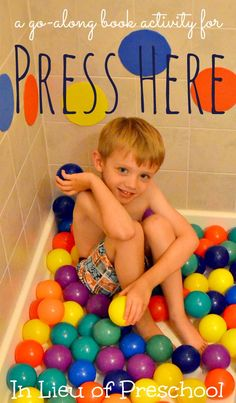 Rainy Day Activities: Indoor Shower Ball Pit (an activity to go along with the book Press Here) - In Lieu of Preschool