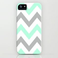 MINT & GRAY CHEVRON iPhone Case by nataliesales - $35.00