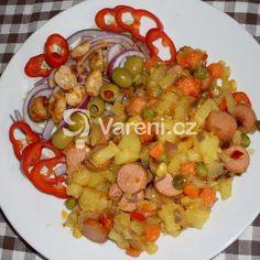 Německý bramborový salát s cibulí recept - Vareni.cz Kung Pao Chicken, Meat, Ethnic Recipes, Food, Essen, Meals, Yemek, Eten