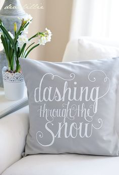 Dashing Through the Snow elegant grey cushion cover