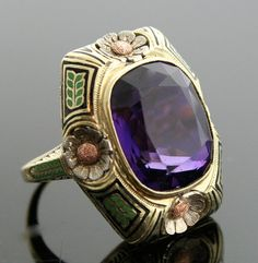 Tri-Gold Ring with Large Amethyst.  This special ring was designed with all the beauty of the Arts & Crafts era and has hints of the beginnings of Art Nouveau.