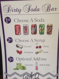 Super cute idea for a wedding reception! Just have the guests pick what they would like! Italian Sodas Recipe, Italian Soda Bar, Italian Cream Soda, Bar Drinks, Cocktail Drinks, Beverages, Cocktails, Refreshing Drinks, Yummy Drinks