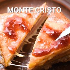Monte Cristo Sandwich - Toasted and grilled sandwich that is stuffed with cheese, ham, mustard and mayonnaise then dipped i - Easy Sandwich Recipes, Lunch Recipes, Breakfast Recipes, Cooking Recipes, Grill Cheese Sandwich Recipes, Ham And Cheese Bread Recipe, Ham Cheese Sandwiches, Recipes With Ham, Grilled Cheese Recipes Easy