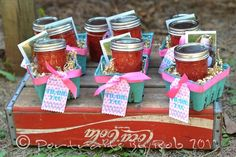 Another very similar thing I have!  I have green berry baskets and I am adding mason jars as thank you baskets!  @Mandy Henry