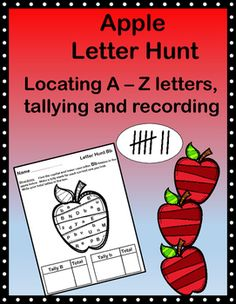 Set of 26 Letter Hunts of both Capital and Lowercase letters, Apple themed.The students are asked to tally the ones that they find and to write the total as well. Customer Tips:Did you purchase this product? Come back and get yourself a credit to use on future purchases :)How to get TPT credit: Please go to your My Purchases page (you may need to login).
