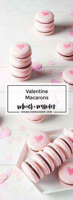 Traditional French macaron recipe using Italian meringue method. Pink Valentine macarons, chocolate ganache filling + airbrushed hearts for Valentine's Day! via @whiskwander