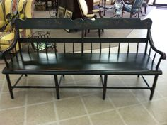 Nicely Painted & Decorated Country-Style Pennsylvania Settee circa 1850...$1495.00 are you joking???