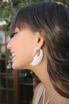 gauges earrings- fake - Nava Wings Bone Fake Gauges. $28.00, via Etsy.